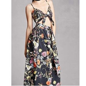 Floral set maxi skirt and crop top black/colorful